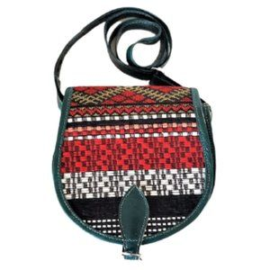 Teal leather & woven fabric purse